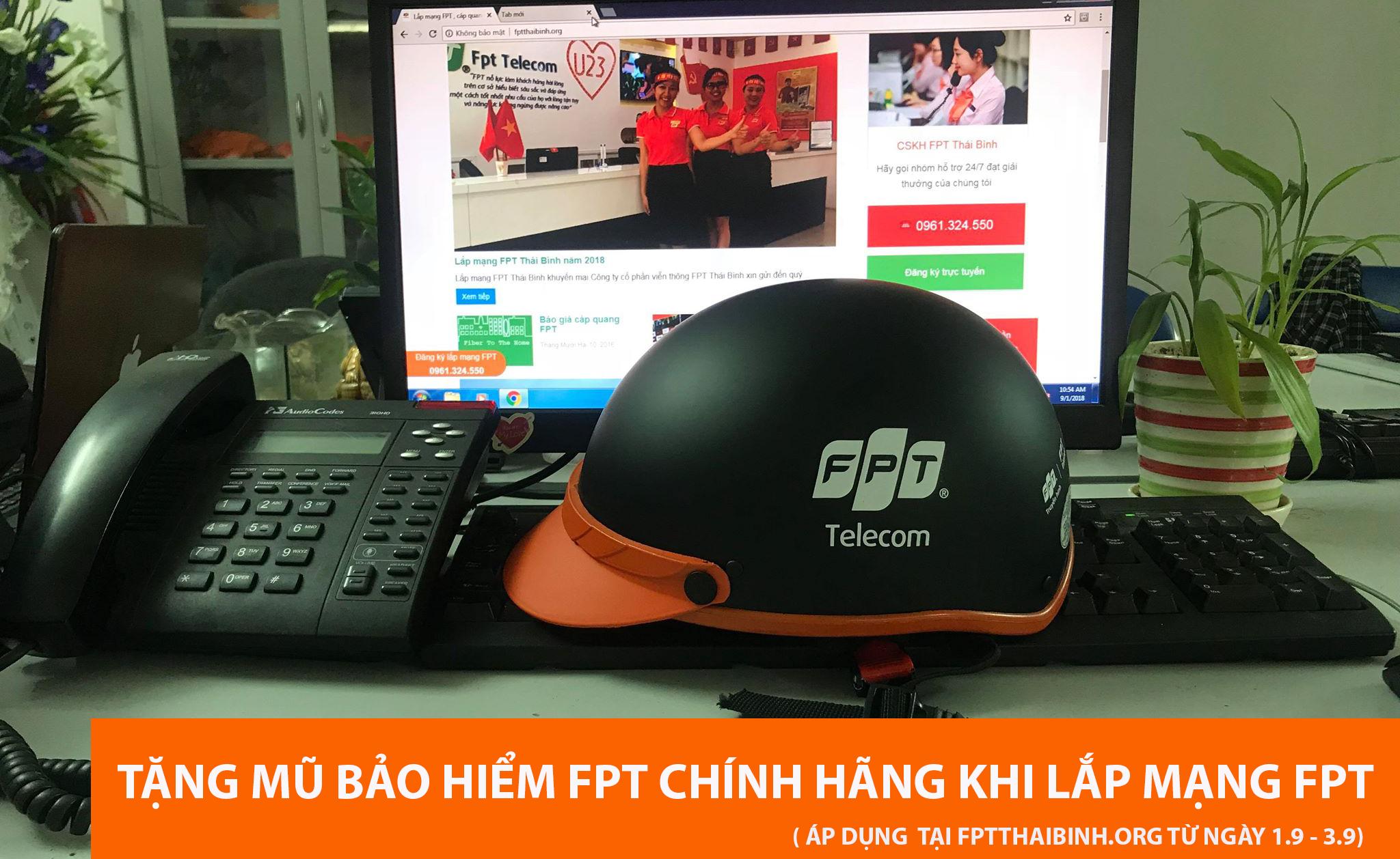 Tặng mũ bảo hiểm khi lắp đặt mạng FPT